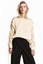 Blouse with drawstrings - Light beige - Ladies | H&M 1