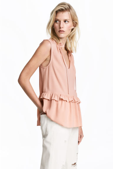 Sleeveless frilled blouse - Powder pink - Ladies | H&M 1