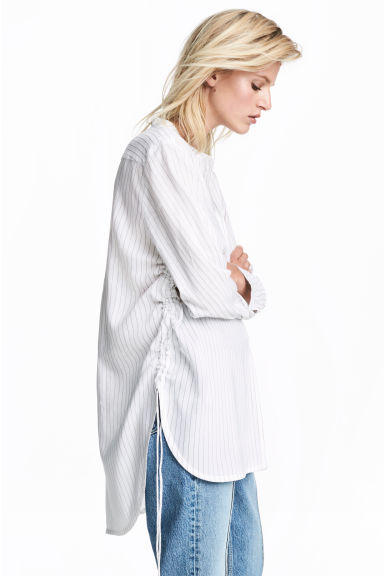 Drawstring blouse - White/Striped - Ladies | H&M CA