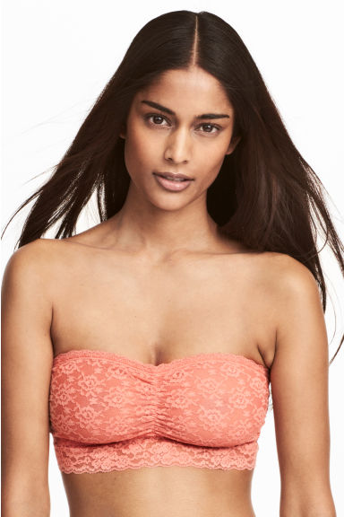 2-pack lace bandeau bras - Apricot/Dark grey - Ladies | H&M 1