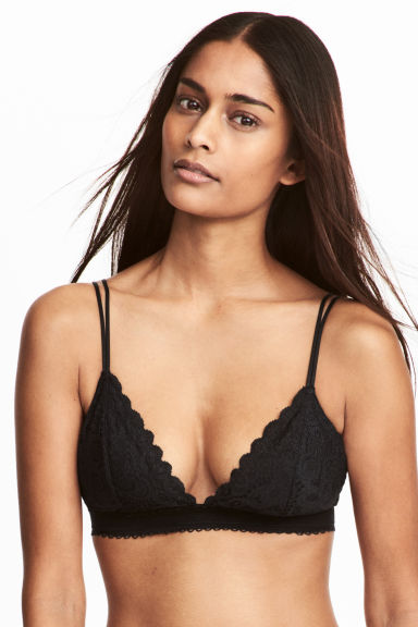 Padded triangle bra - Black - Ladies | H&M CN 1