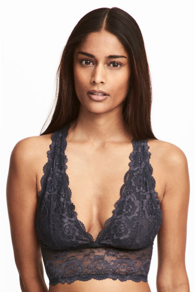 Lace bralette - Dark grey - Ladies | H&M CN 1