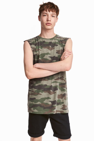 Printed vest top - Khaki green/Patterned - Men | H&M CA 1