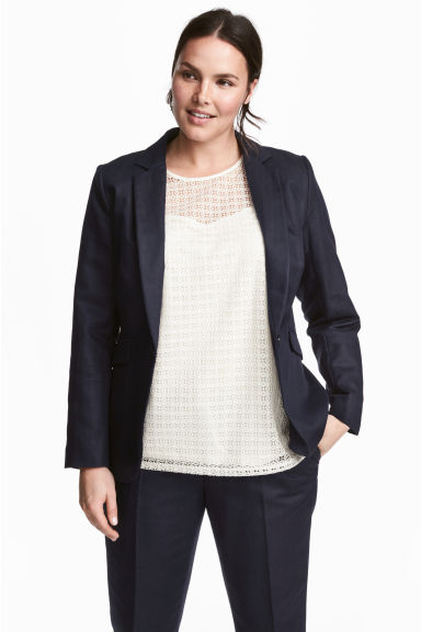 H&M+ Linen-blend jacket - Dark blue - Ladies | H&M 1