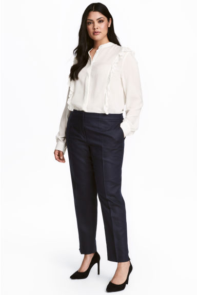 H&M+ Linen-blend trousers - Dark blue -  | H&M CA