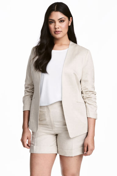 H&M+ Linen-blend jacket - Natural white - Ladies | H&M 1