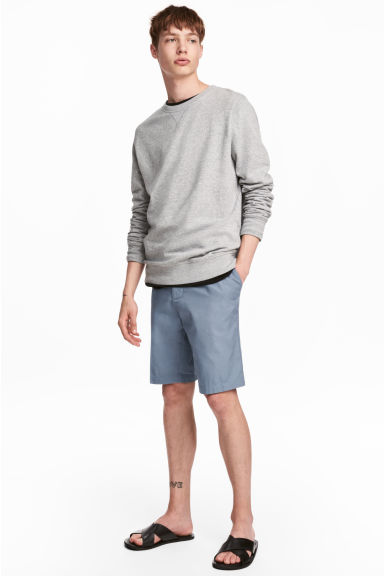 Knee-length cotton shorts - Pigeon blue -  | H&M CN