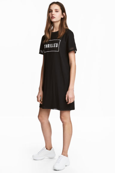 Double-layered T-shirt dress - Black - Ladies | H&M 1