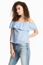 Off-the-shoulderblouse - Lichtblauw/gestreept - DAMES | H&M NL 2