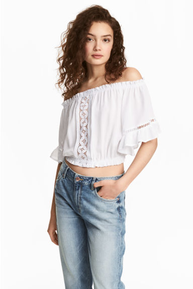 Crinkled off-the-shoulder top - White - Ladies | H&M CN 1