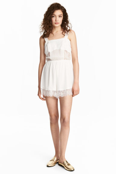 Chiffon playsuit with lace - White - Ladies | H&M 1
