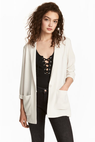 Crêpe jacket - White - Ladies | H&M
