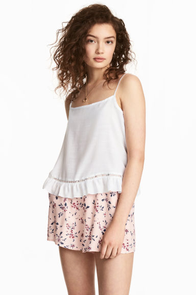 Short shorts - Light pink/Floral - Ladies | H&M CA 1