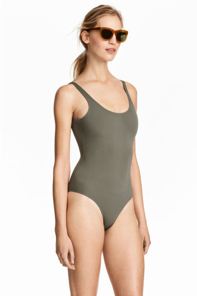 Swimsuit High leg - Khaki green - Ladies | H&M CN 1