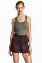 Pima cotton vest top - Khaki green - Ladies | H&M CA 1