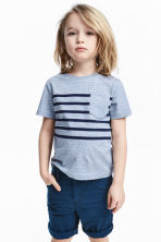 T-shirt with a chest pocket - Blue marl -  | H&M 1