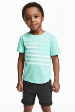 T-shirt with a chest pocket - Mint green marl -  | H&M 1