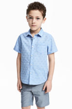 Short-sleeved cotton shirt - Light blue/Spotted - Kids | H&M 1