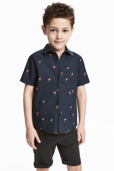 Short-sleeved cotton shirt - Dark blue/Flamingo - Kids | H&M 1