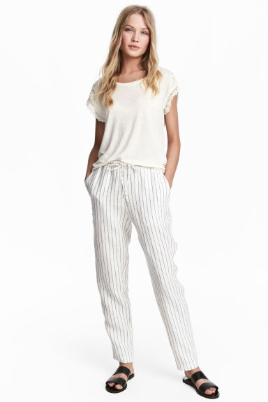Linen joggers - White/Striped - Ladies | H&M CN 1