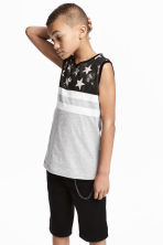 Printed vest top - Grey marl/Stars - Kids | H&M 1