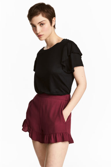 Top with frills - Black -  | H&M