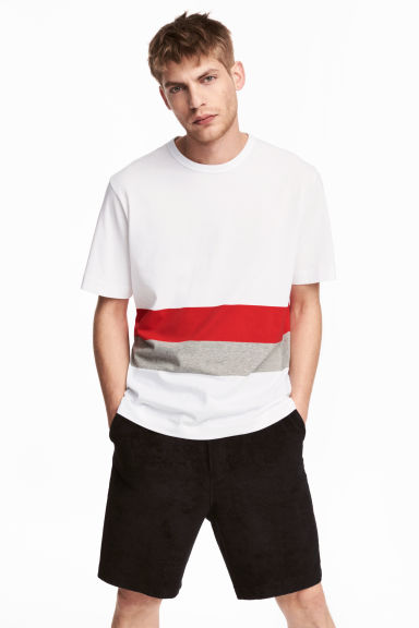 Block-patterned T-shirt - White/Red - Men | H&M 1