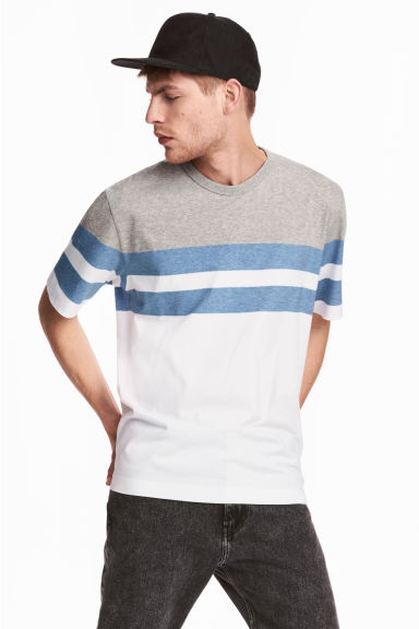 Block-patterned T-shirt - White/Grey blue - Men | H&M 1
