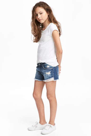 Denim shorts with lace - Denim blue -  | H&M 1