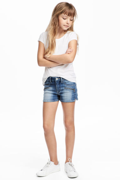 Denim shorts with zips - Denim blue -  | H&M 1