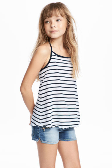 Jersey strappy top - White/Dark blue/Striped -  | H&M
