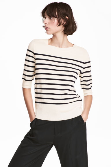 Fine-knit jumper - Natural white/Striped - Ladies | H&M 1