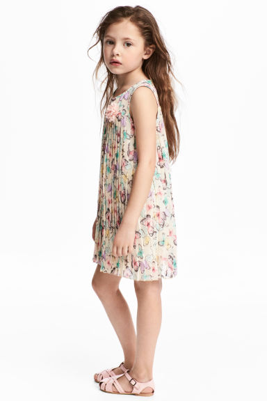 Pleated dress - Natural white/Butterflies - Kids | H&M 1