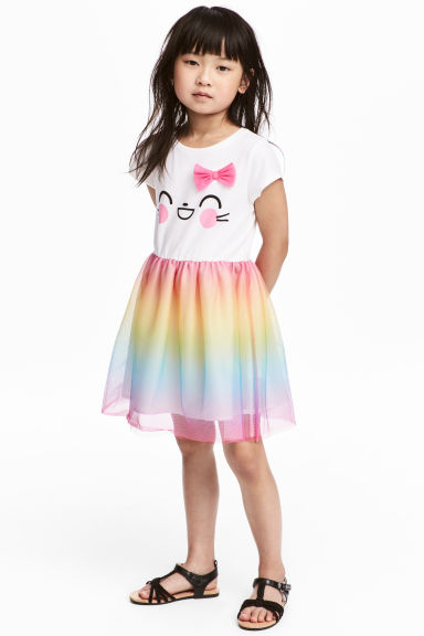Dress with a tulle skirt - White/Multicoloured - Kids | H&M CN 1