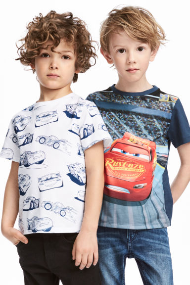 2-pack t-shirts - Vit/Cars - Kids | H&M FI 1