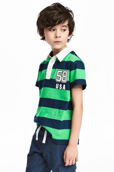 Jersey polo shirt - Dark blue/Green striped -  | H&M 1