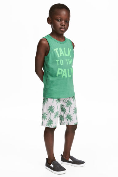 Vest top and shorts - Green - Kids | H&M CN 1