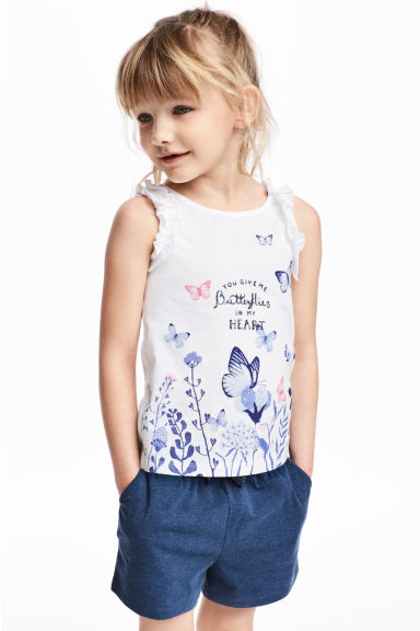Sleeveless top - White/Butterflies -  | H&M 1