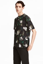 Patterned T-shirt - Black/Floral - Men | H&M CN 1
