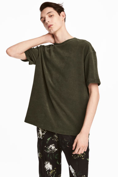 Cotton terry T-shirt - Dark khaki green - Men | H&M 1