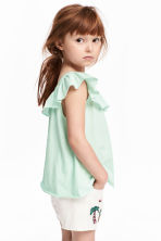 Frilled top - Mint green -  | H&M 1