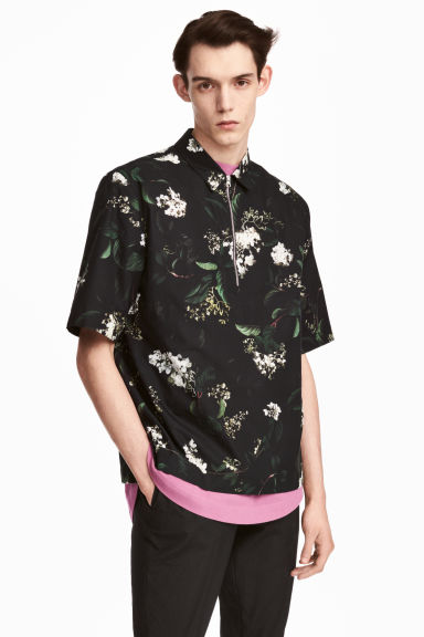 Short-sleeved shirt - Black/Floral - Men | H&M 1