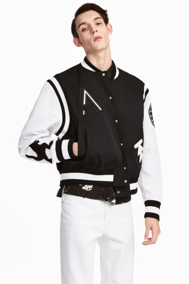 Baseball jacket - Black/White - Men | H&M