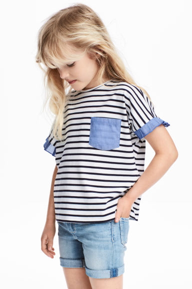 Jersey top - White/Dark blue/Striped -  | H&M 1