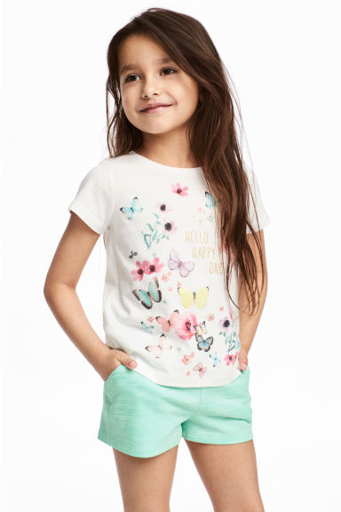 Printed top - White/Butterflies - Kids | H&M 1