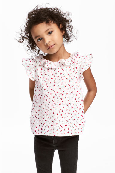 Blouse with butterfly sleeves - White/Cherry - Kids | H&M 1