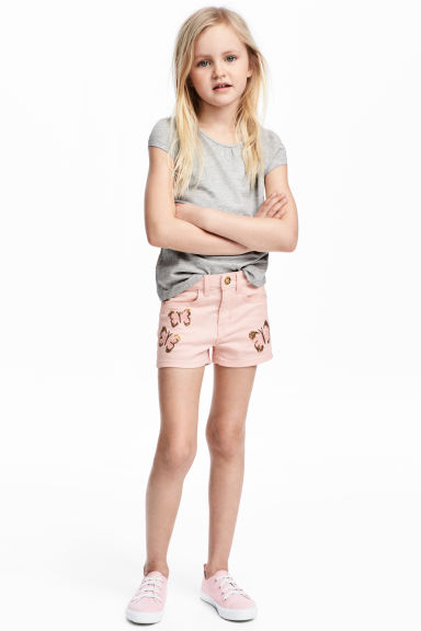 Twill shorts with appliqués - Light pink/Butterflies - Kids | H&M 1