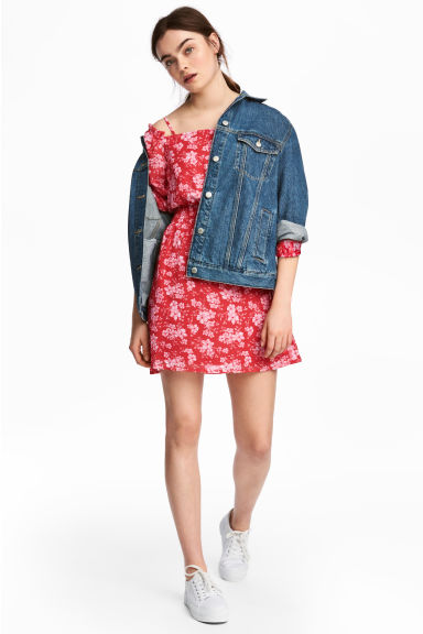 露肩洋裝 - Red/Floral - Ladies | H&M 1