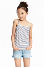 Printed strappy jersey top - White/Dark blue/Striped - Kids | H&M CN 1