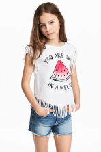 Fringed top - White/Watermelon - Kids | H&M 1